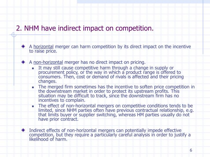 2. NHM have indirect impact on competition.
