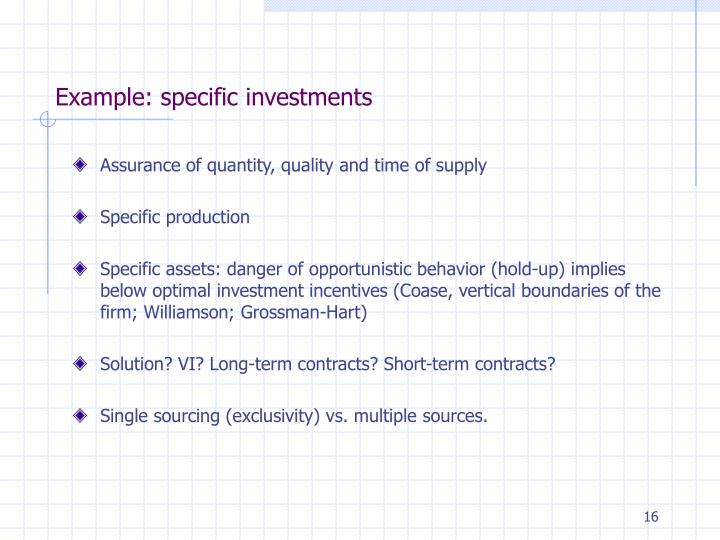 Example: specific investments