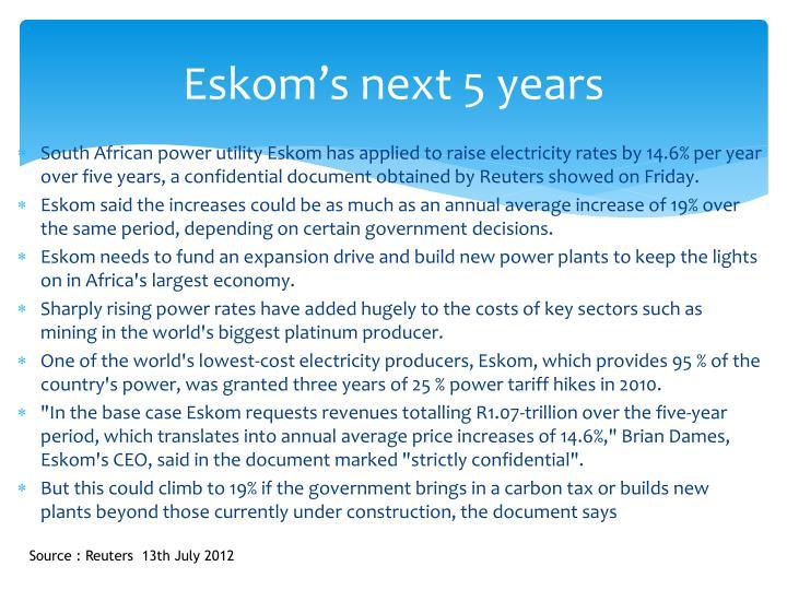 Eskom's next 5 years
