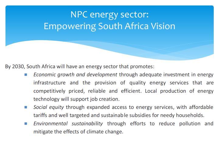 NPC energy sector: