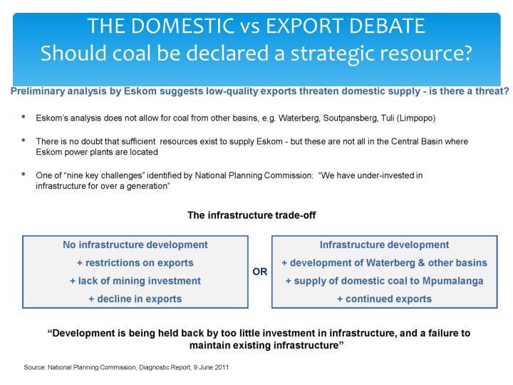 THE DOMESTIC vs EXPORT DEBATE