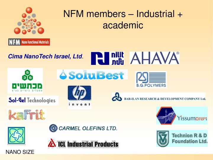 NFM members – Industrial + academic