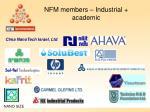 nfm members industrial academic
