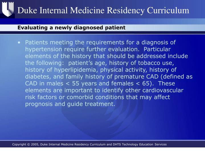 Evaluating a newly diagnosed patient