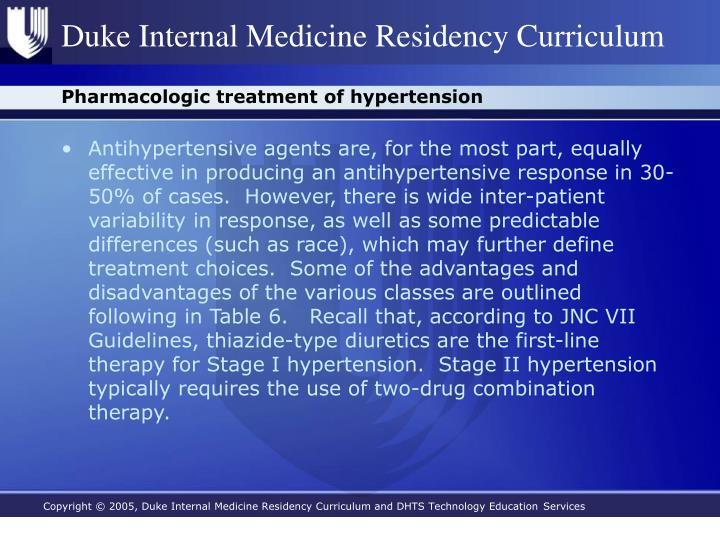 Pharmacologic treatment of hypertension