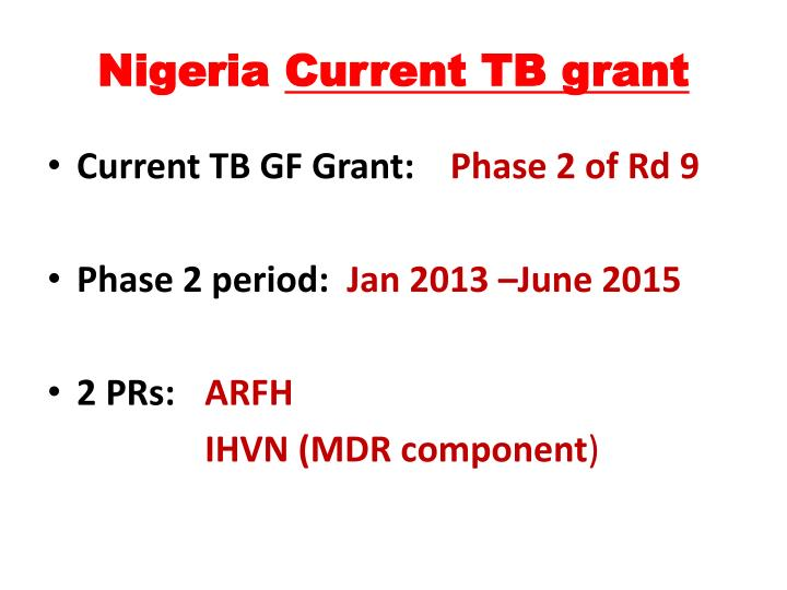 Nigeria current tb grant