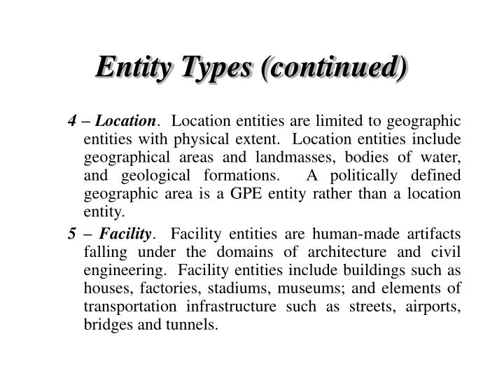Entity Types (continued)