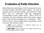 evaluation of entity detection