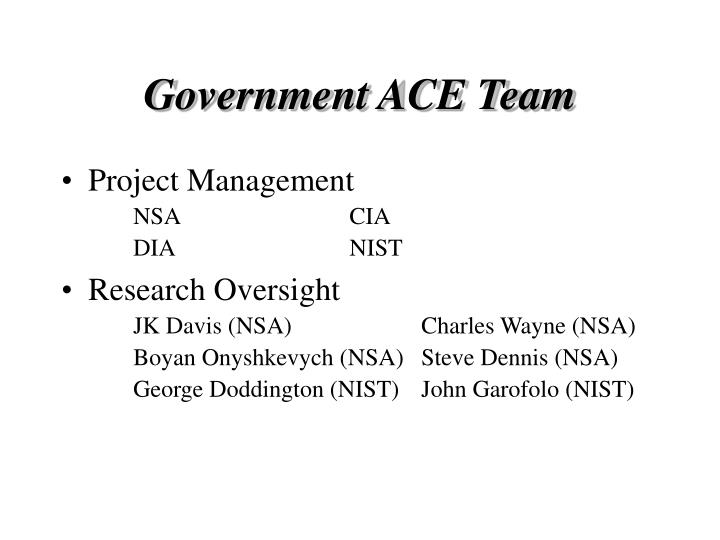 Government ace team