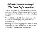 introduce a new concept the role of a mention