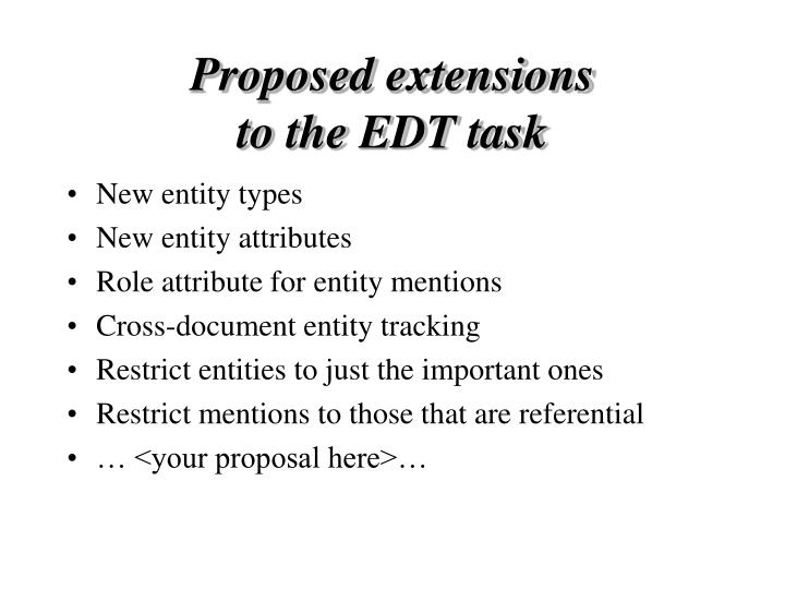 Proposed extensions