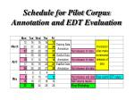 schedule for pilot corpus annotation and edt evaluation