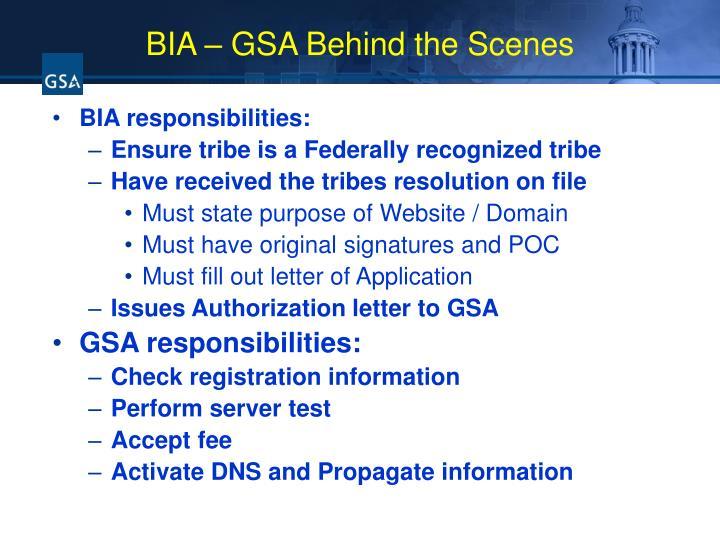 BIA – GSA Behind the Scenes