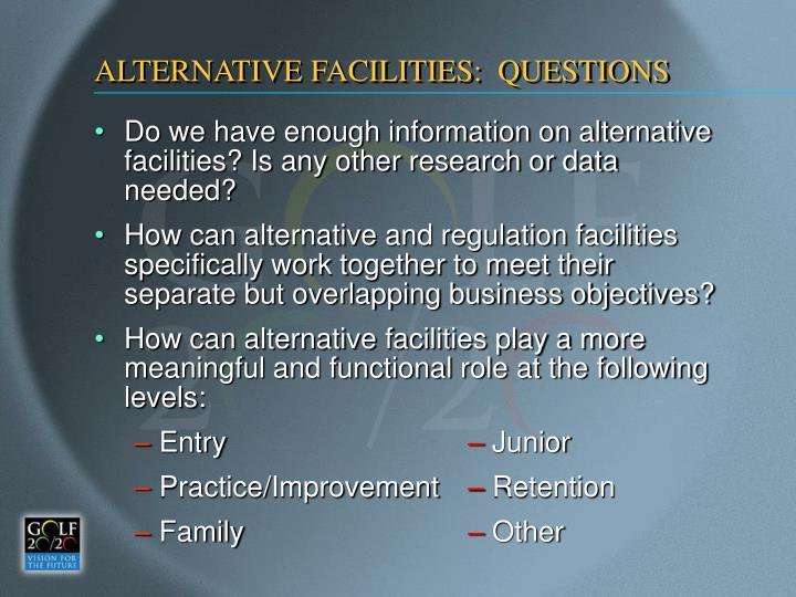 ALTERNATIVE FACILITIES:  QUESTIONS