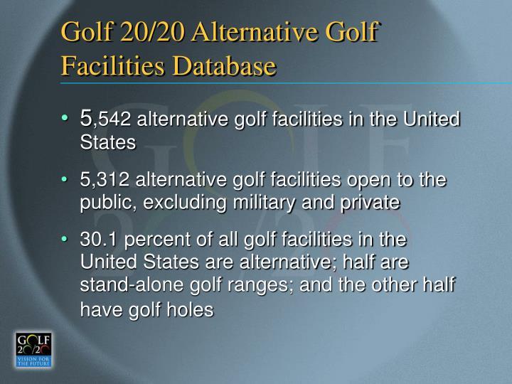 Golf 20/20 Alternative Golf Facilities Database