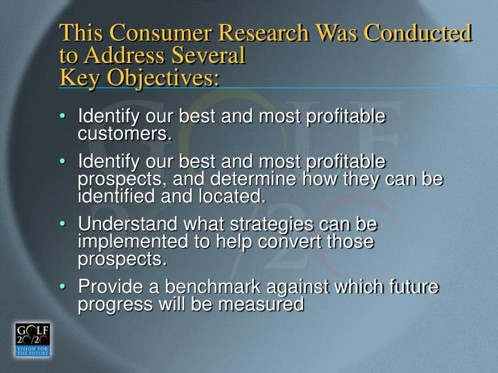 This Consumer Research Was Conducted to Address Several