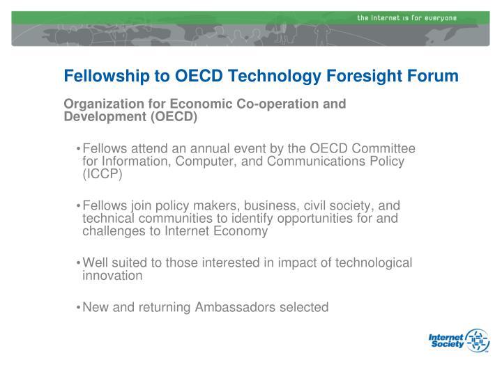 Fellowship to OECD Technology Foresight Forum
