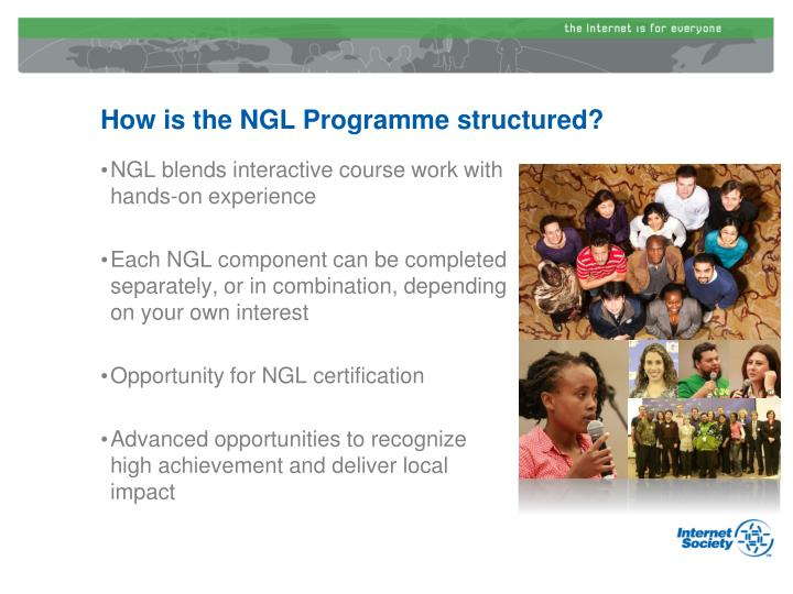 How is the NGL Programme structured?