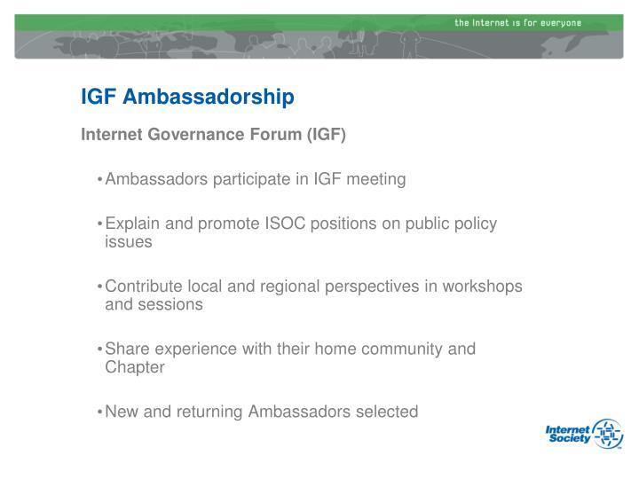 IGF Ambassadorship