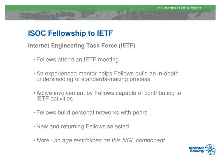 ISOC Fellowship to IETF