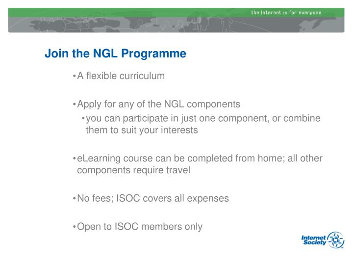 Join the NGL Programme