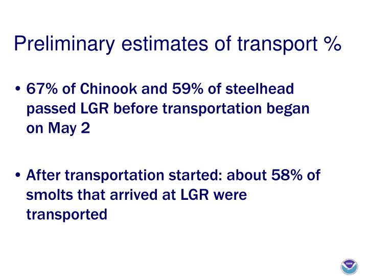 Preliminary estimates of transport %