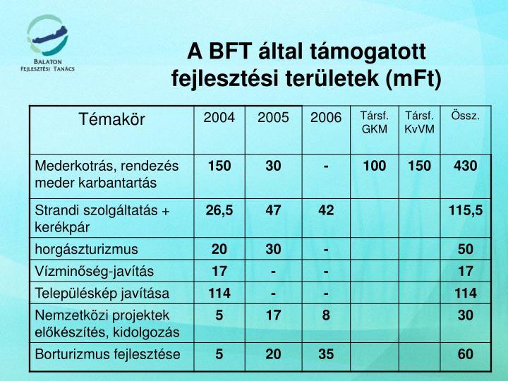 A BFT által támogatott fejlesztési területek (mFt)