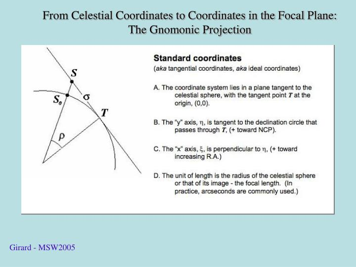 From Celestial Coordinates to Coordinates in the Focal Plane: The Gnomonic Projection