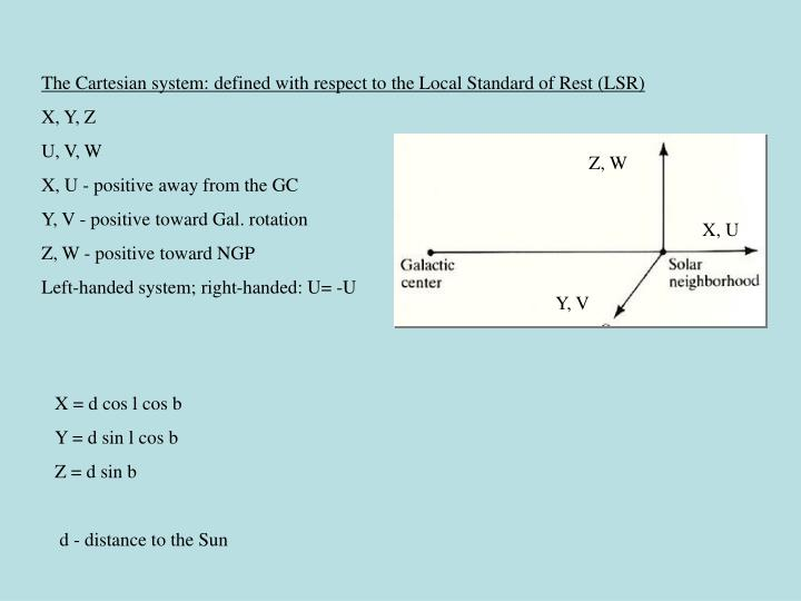 The Cartesian system: defined with respect to the Local Standard of Rest (LSR)