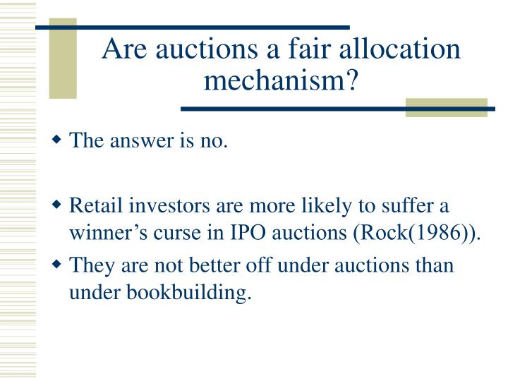 Are auctions a fair allocation mechanism?