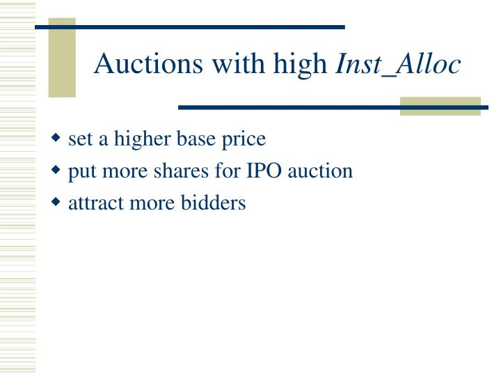 Auctions with high