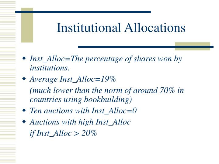 Institutional Allocations