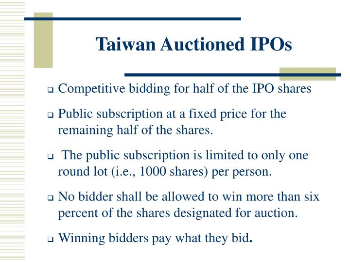 Taiwan Auctioned IPOs