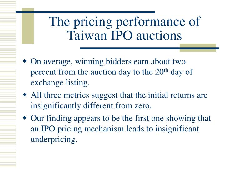 The pricing performance of Taiwan IPO auctions