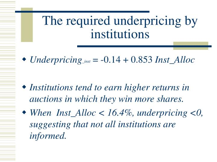 The required underpricing by institutions