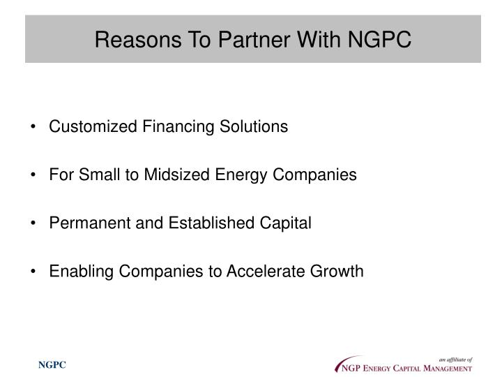 Reasons To Partner With NGPC