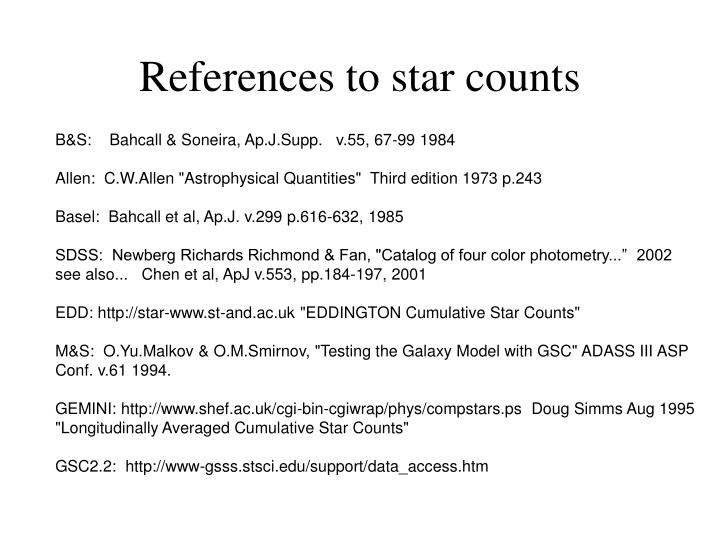 References to star counts