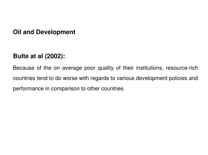 Oil and Development