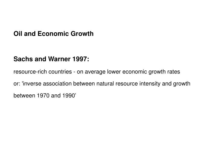 Oil and Economic Growth