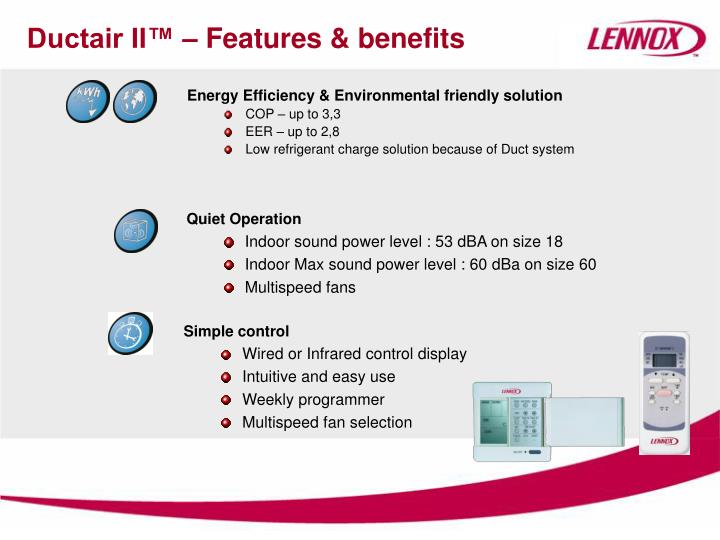 Ductair ii features benefits