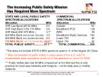 the increasing public safety mission has required more spectrum