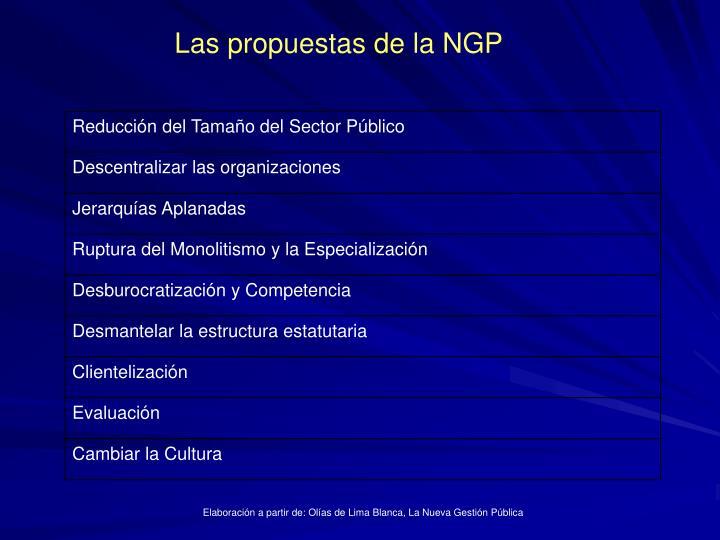 Las propuestas de la NGP