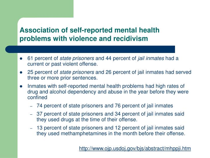 Association of self-reported mental health problems with violence and recidivism