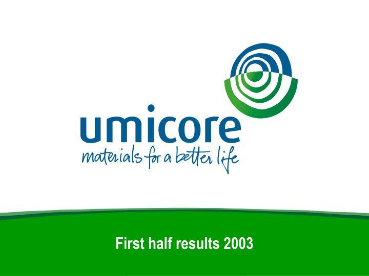 first half results 2003