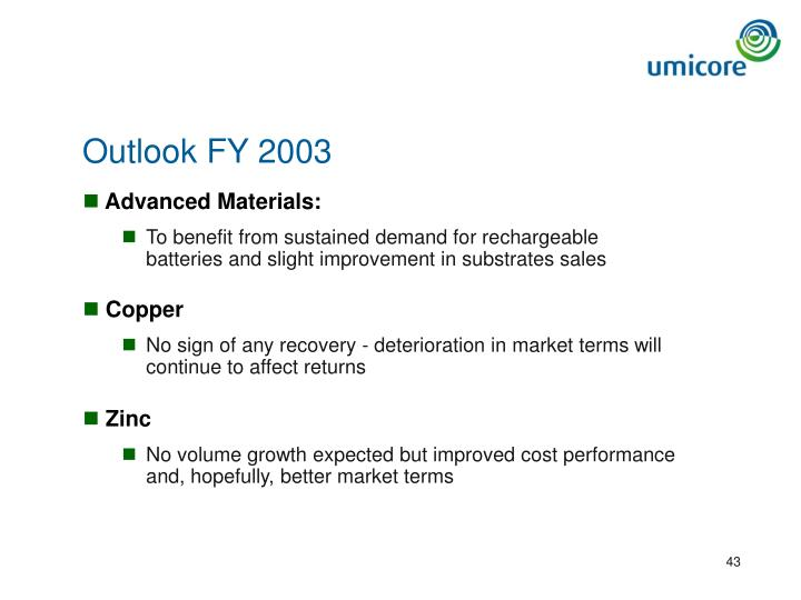 Outlook FY 2003