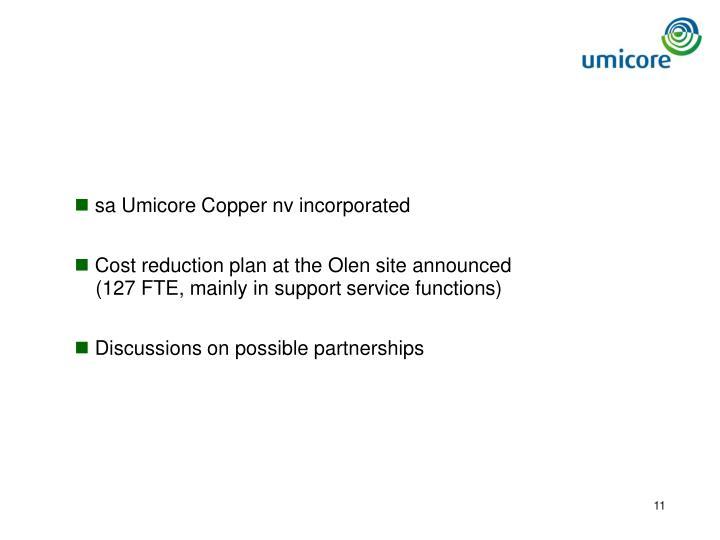 sa Umicore Copper nv incorporated