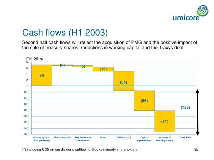 Cash flows (H1 2003)