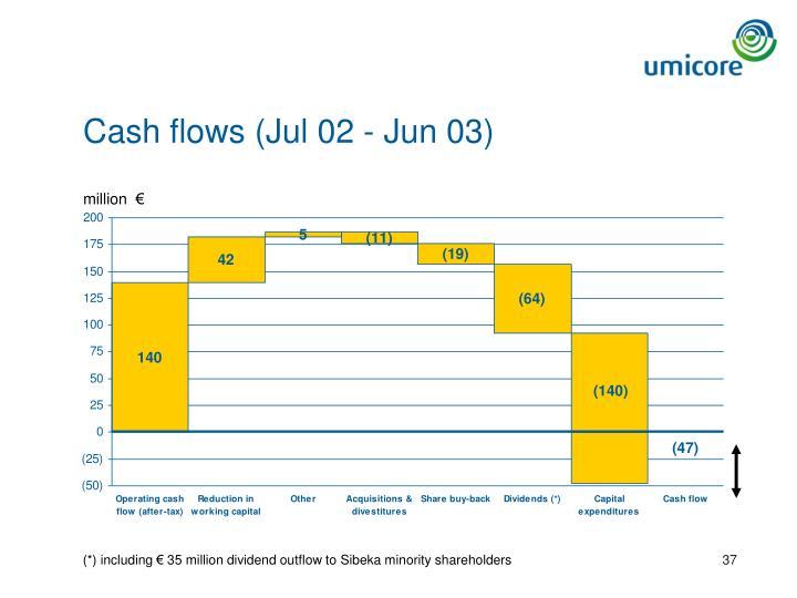 Cash flows (Jul 02 - Jun 03)