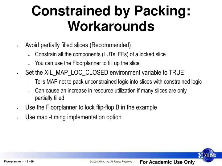 Constrained by Packing: Workarounds