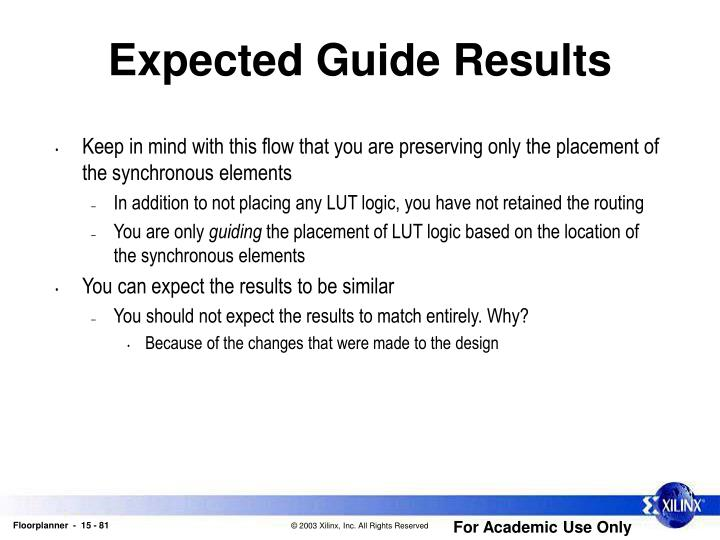 Expected Guide Results